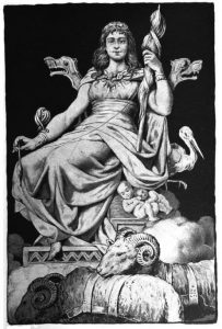 The goddess Frigg sits atop a throne while holding and threading a distaff. To her bottom right perches a stork and two human babies. In the foreground before the throne mull two cuddling rams.